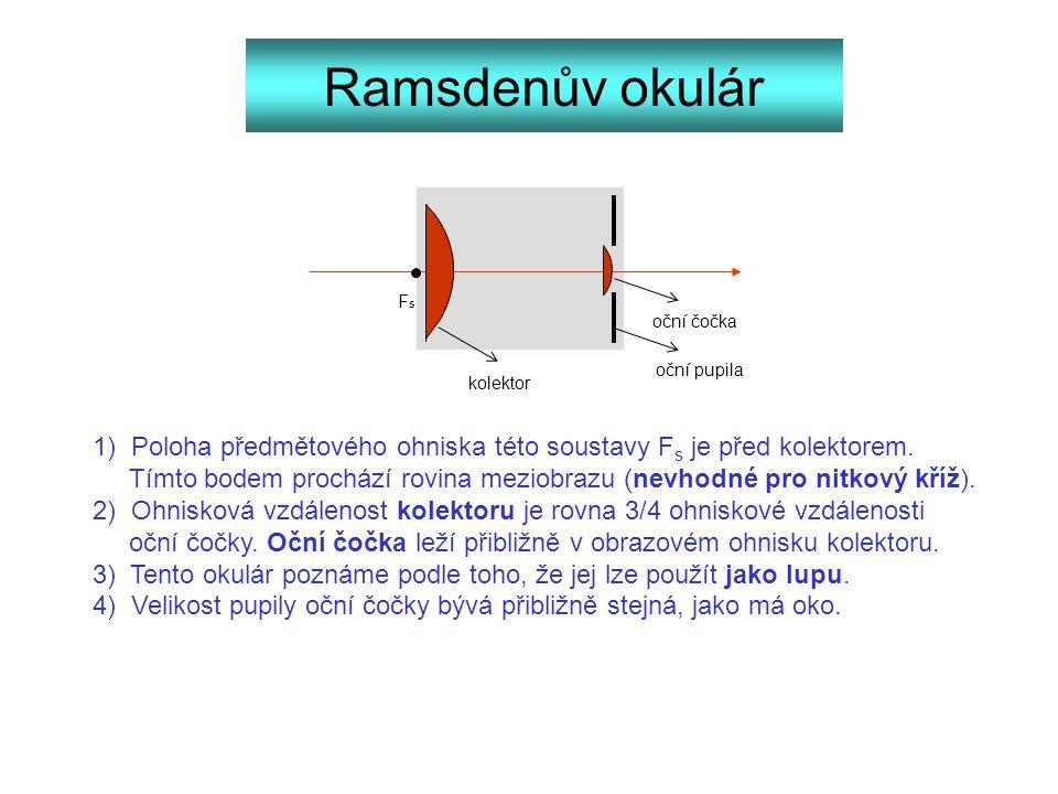 Ramsdenův okulár kolektor FsFs oční čočka 1) Poloha předmětového ohniska této soustavy F s je před kolektorem. Tímto bodem prochází rovina meziobrazu