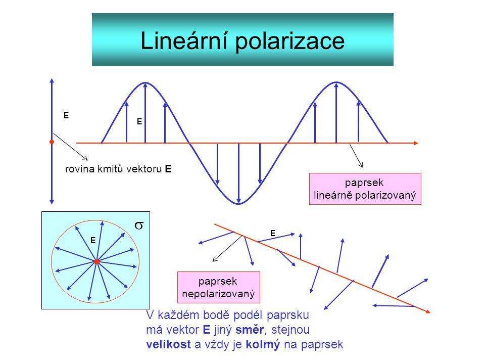 Lineární polarizace paprsek lineárně polarizovaný paprsek nepolarizovaný E E E E rovina kmitů vektoru E V každém bodě podél paprsku má vektor E jiný s