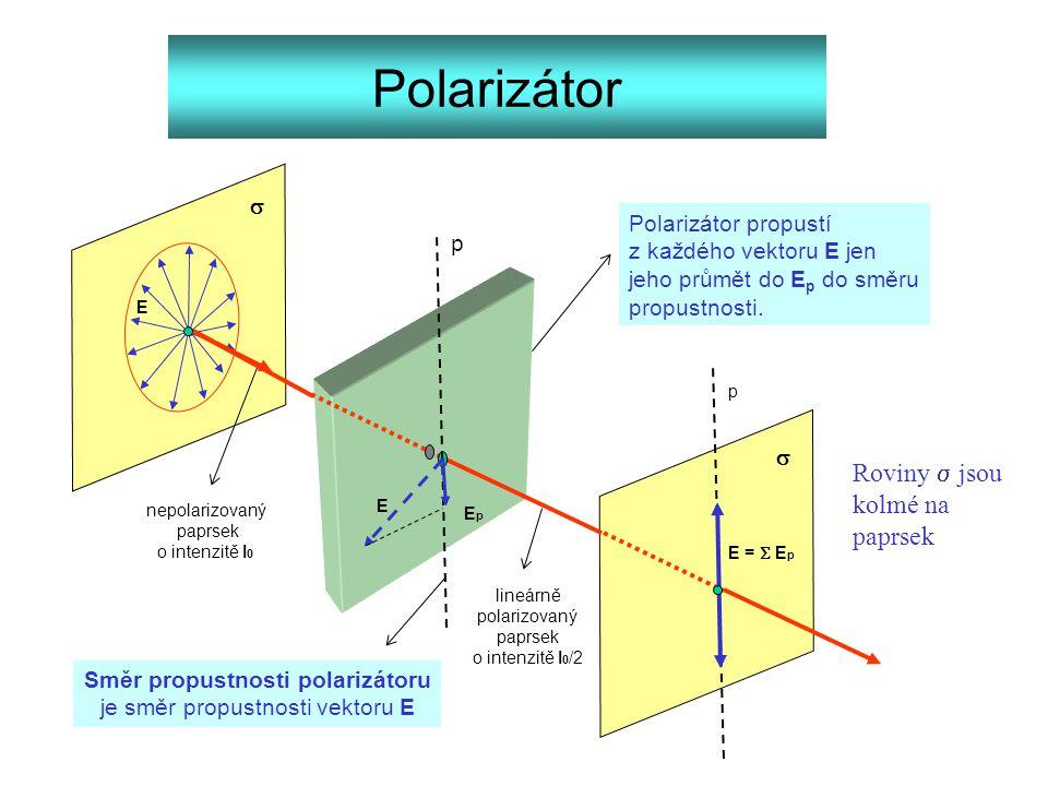 Polarizátor   p Polarizátor propustí z každého vektoru E jen jeho průmět do E p do směru propustnosti. Směr propustnosti polarizátoru je směr propus