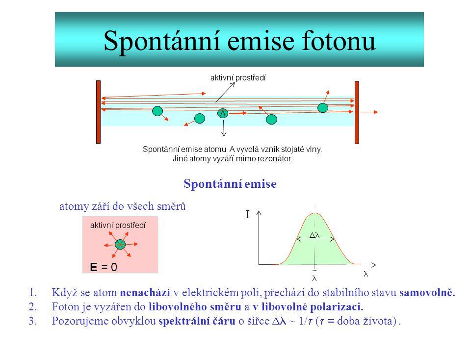 Spontánní emise fotonu A  Spontánní emise 1.Když se atom nenachází v elektrickém poli, přechází do stabilního stavu samovolně. 2.Foton je vyzářen do