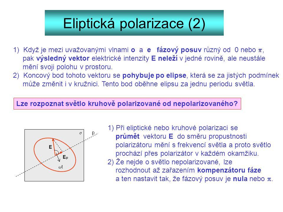 Eliptická polarizace (2) 1) Když je mezi uvažovanými vlnami o a e fázový posuv různý od 0 nebo , pak výsledný vektor elektrické intenzity E neleží v