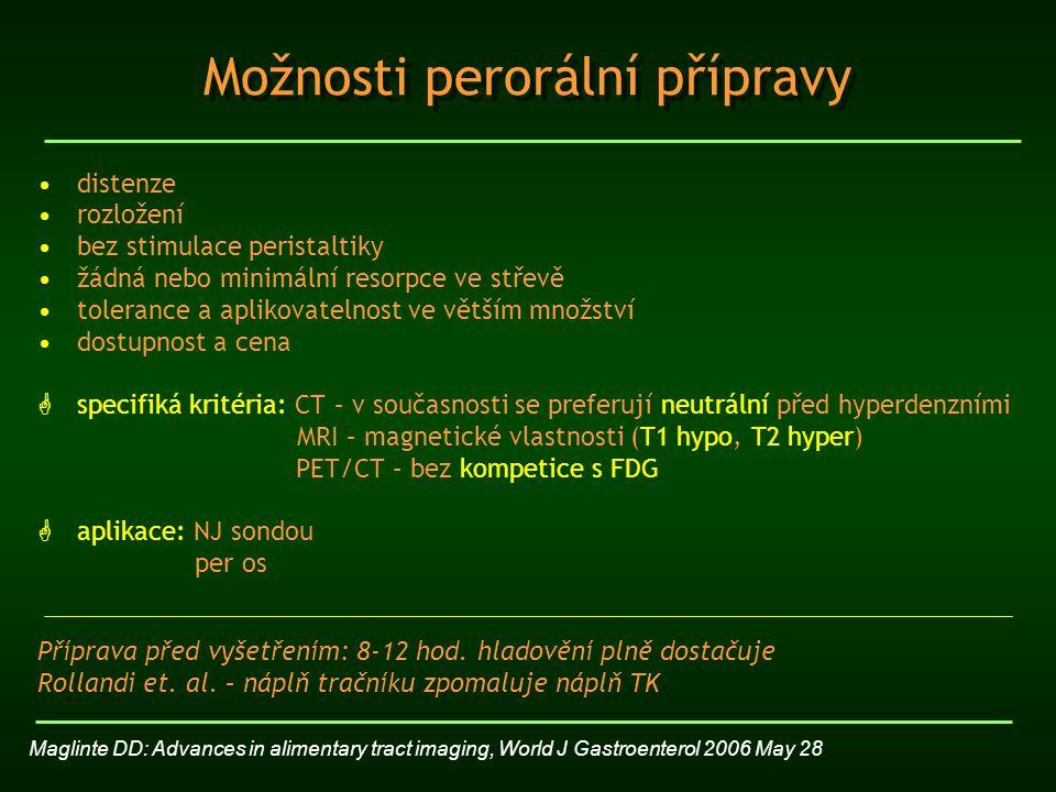 CT enteroklýza – rok 1992 NJ sonda pod skiaskopickou kontrolou náplň 1500 – 2500 ml, teplota kontrastního média 37°C - manuálně – časově a fyzicky náročné - injekční pumpa (200 ml/min) – reflexní hypotonie izo/hypoosmolární látky - 0,5% methylcelulóza, PEG - BaSO 4, jodová k.l.