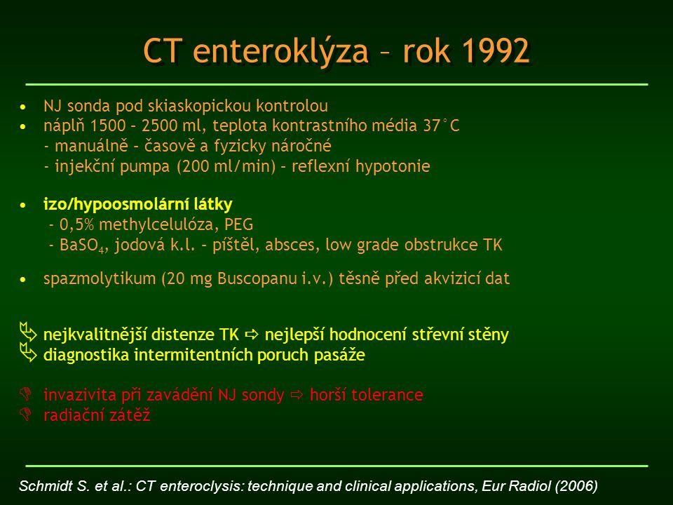 CT enteroklýza – rok 1992 NJ sonda pod skiaskopickou kontrolou náplň 1500 – 2500 ml, teplota kontrastního média 37°C - manuálně – časově a fyzicky nár