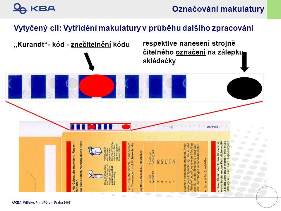 """ KBA, Willeke, Print Fórum Praha 2007 Označování makulatury """"Kurandt""""- kód - znečitelnění kódu Vytyčený cíl: Vytřídění makulatury v průběhu dalšího z"""