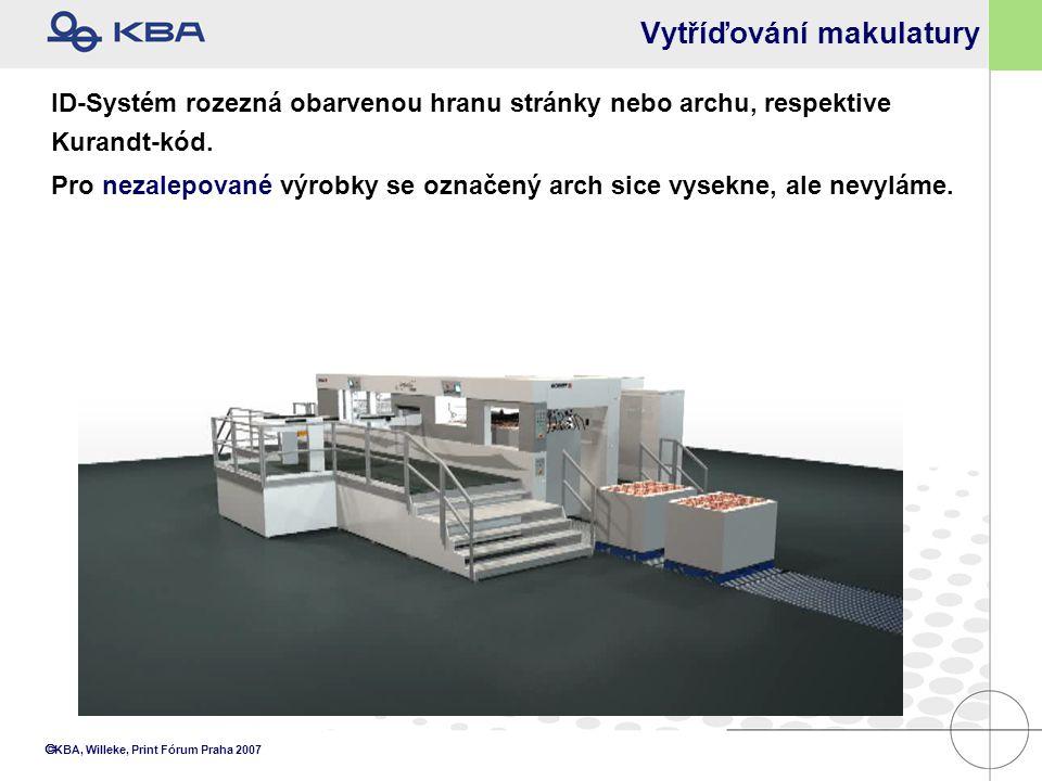  KBA, Willeke, Print Fórum Praha 2007 Vytříďování makulatury ID-Systém rozezná obarvenou hranu stránky nebo archu, respektive Kurandt-kód. Pro nezale