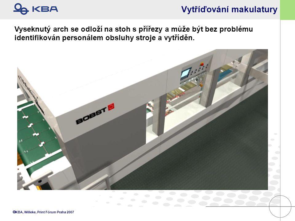  KBA, Willeke, Print Fórum Praha 2007 Vytříďování makulatury Vyseknutý arch se odloží na stoh s přířezy a může být bez problému identifikován personá
