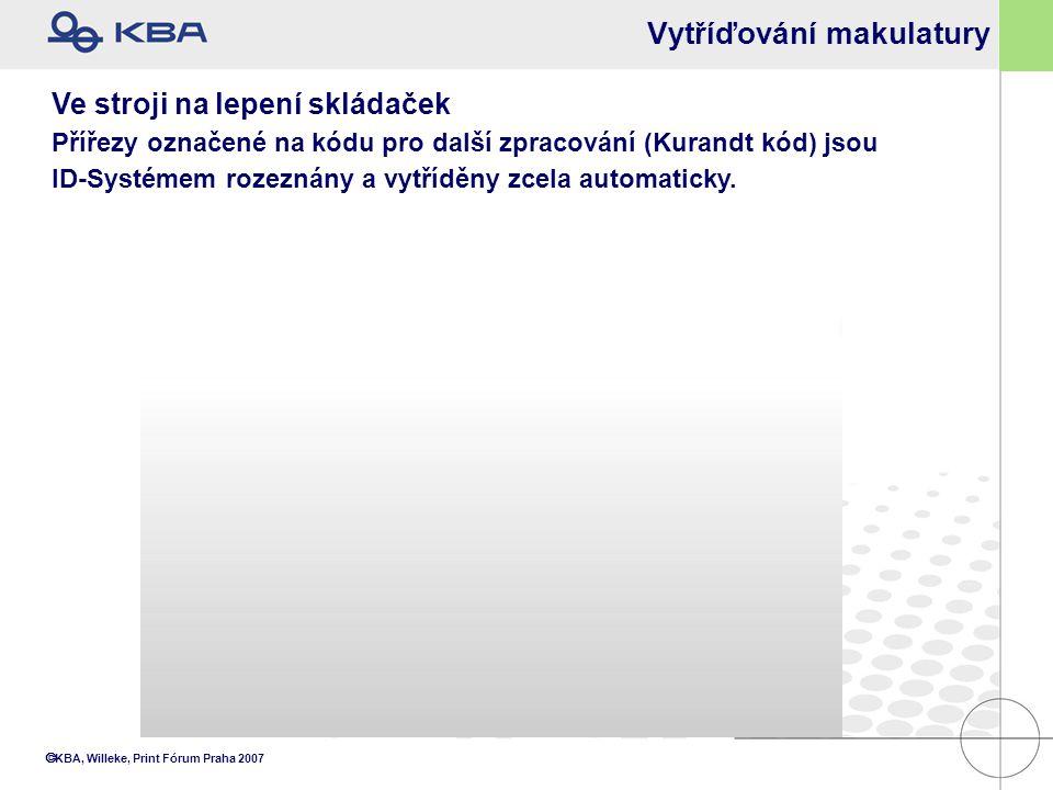  KBA, Willeke, Print Fórum Praha 2007 Vytříďování makulatury Ve stroji na lepení skládaček Přířezy označené na kódu pro další zpracování (Kurandt kód