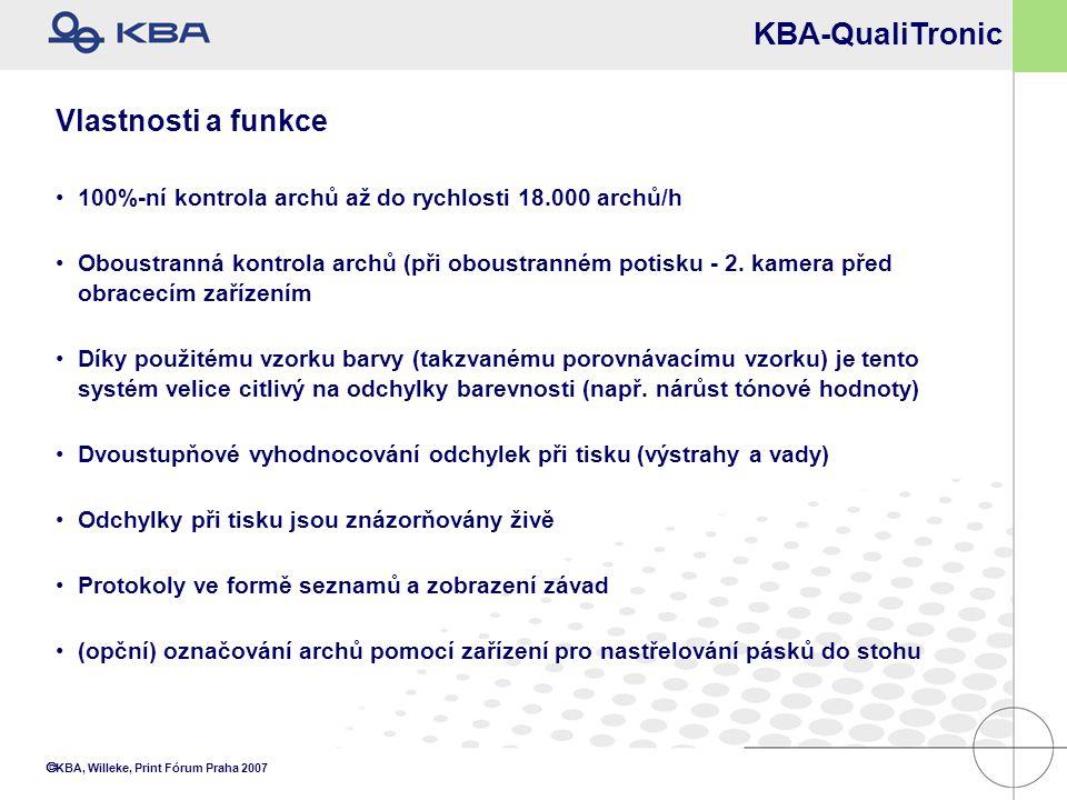  KBA, Willeke, Print Fórum Praha 2007 KBA-QualiTronic Vlastnosti a funkce 100%-ní kontrola archů až do rychlosti 18.000 archů/h Oboustranná kontrola