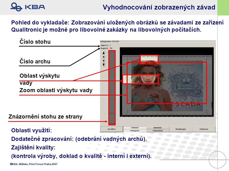  KBA, Willeke, Print Fórum Praha 2007 Vyhodnocování zobrazených závad Oblasti využití: Dodatečné zpracování: (odebrání vadných archů). Zajištění kval