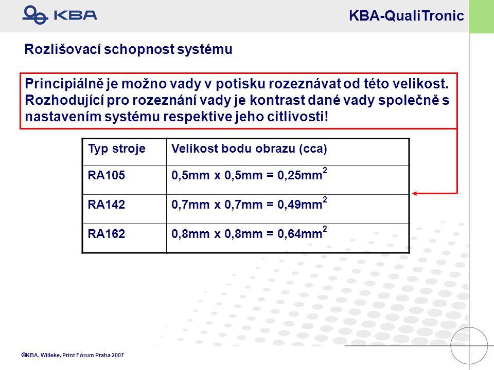  KBA, Willeke, Print Fórum Praha 2007 Principiálně je možno vady v potisku rozeznávat od této velikost. Rozhodující pro rozeznání vady je kontrast da