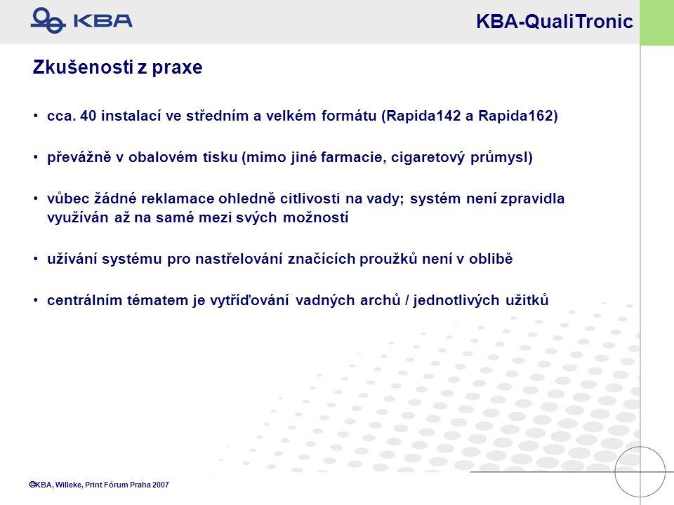  KBA, Willeke, Print Fórum Praha 2007 Zkušenosti z praxe cca. 40 instalací ve středním a velkém formátu (Rapida142 a Rapida162) převážně v obalovém t