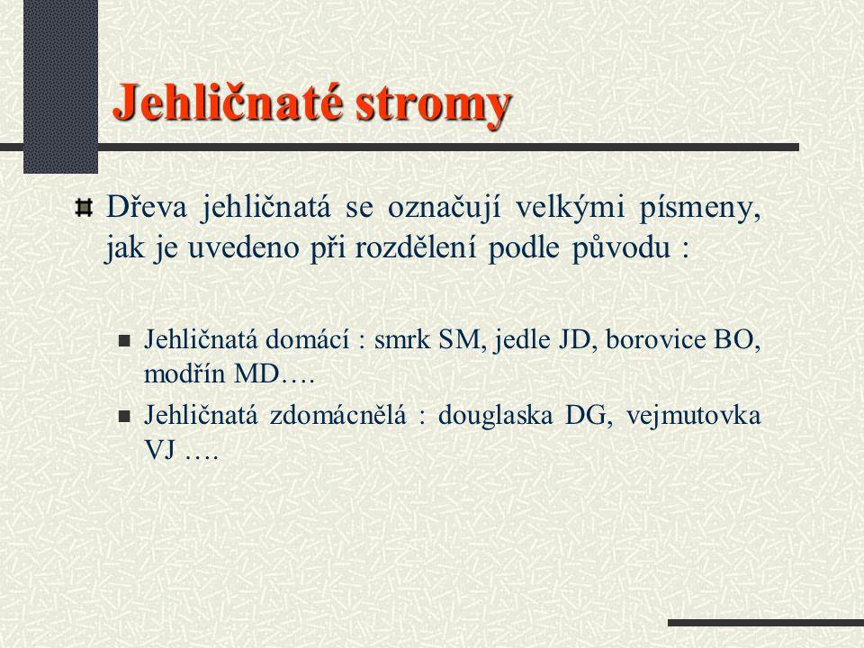 Jehličnaté stromy Dřeva jehličnatá se označují velkými písmeny, jak je uvedeno při rozdělení podle původu : Jehličnatá domácí : smrk SM, jedle JD, borovice BO, modřín MD….