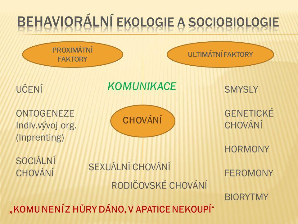 CHOVÁNÍ PROXIMÁTNÍ FAKTORY ULTIMÁTNÍ FAKTORY KOMUNIKACE SMYSLY GENETICKÉ CHOVÁNÍ HORMONY FEROMONY BIORYTMY SEXUÁLNÍ CHOVÁNÍ UČENÍ ONTOGENEZE Indiv.výv