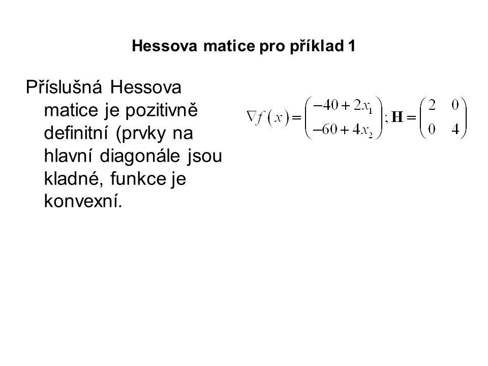 Hessova matice pro příklad 1 Příslušná Hessova matice je pozitivně definitní (prvky na hlavní diagonále jsou kladné, funkce je konvexní.