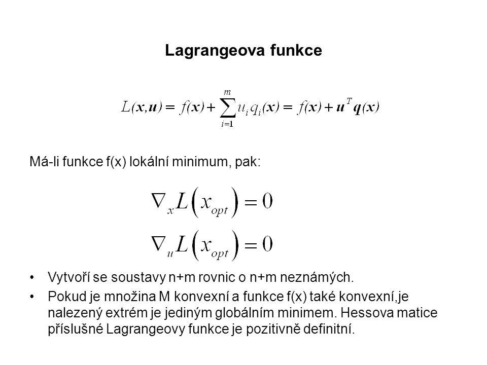 Lagrangeova funkce Má-li funkce f(x) lokální minimum, pak: Vytvoří se soustavy n+m rovnic o n+m neznámých. Pokud je množina M konvexní a funkce f(x) t