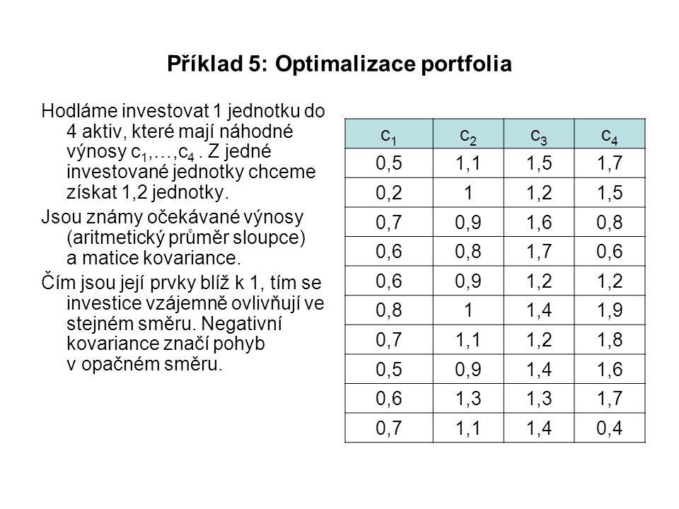Příklad 5: Optimalizace portfolia Hodláme investovat 1 jednotku do 4 aktiv, které mají náhodné výnosy c 1,…,c 4. Z jedné investované jednotky chceme z