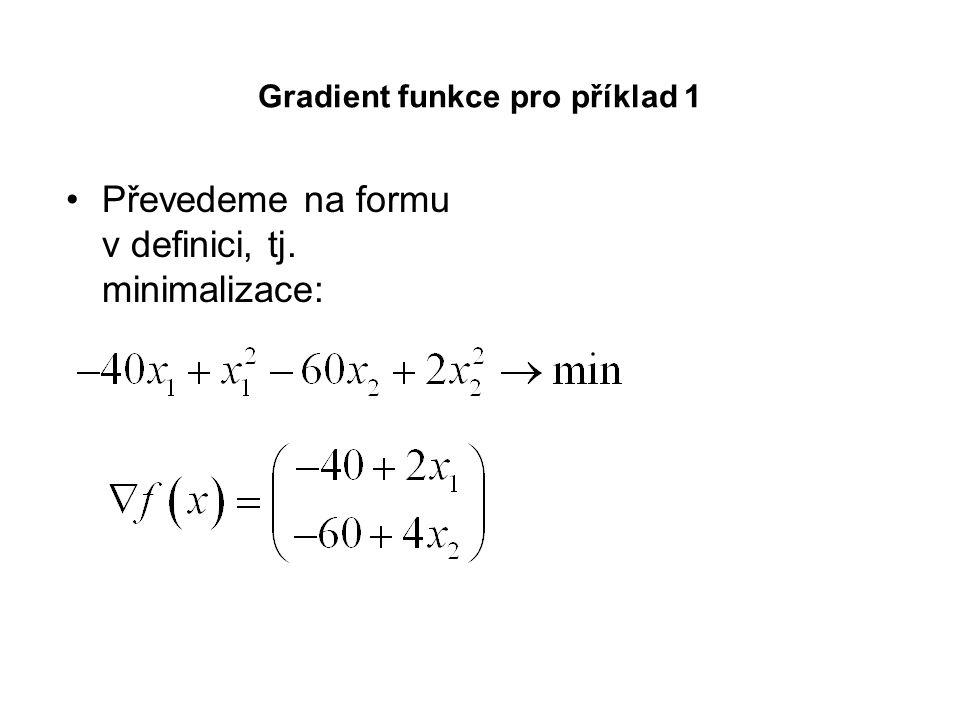 Gradient funkce pro příklad 1 Převedeme na formu v definici, tj. minimalizace: