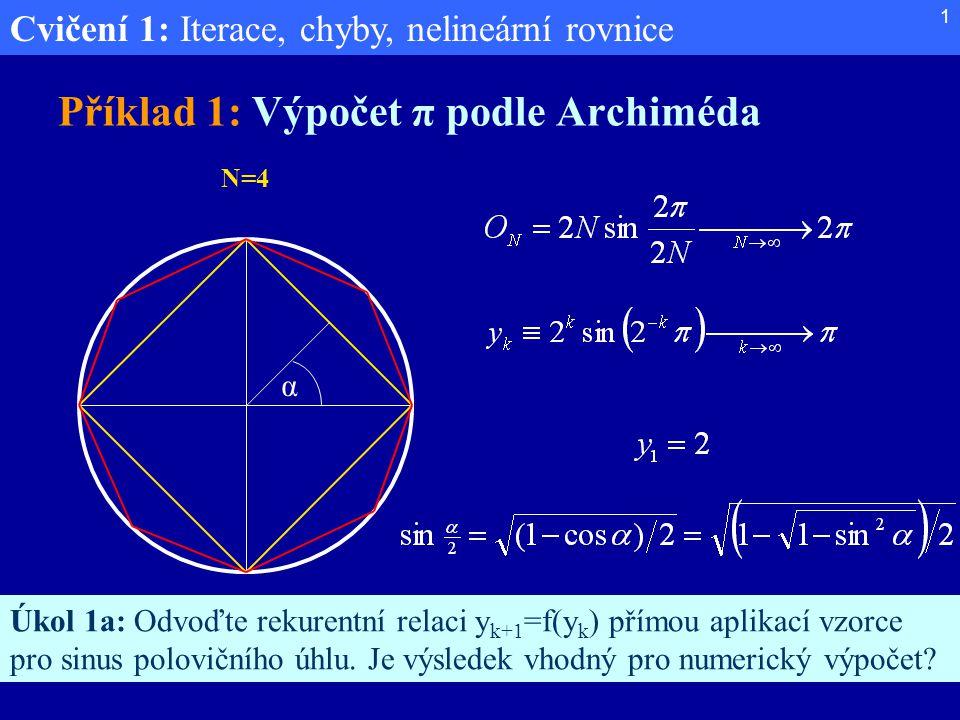 Cvičení 1: Iterace, chyby, nelineární rovnice 1 Příklad 1: Výpočet π podle Archiméda α Úkol 1a: Odvoďte rekurentní relaci y k+1 =f(y k ) přímou aplika