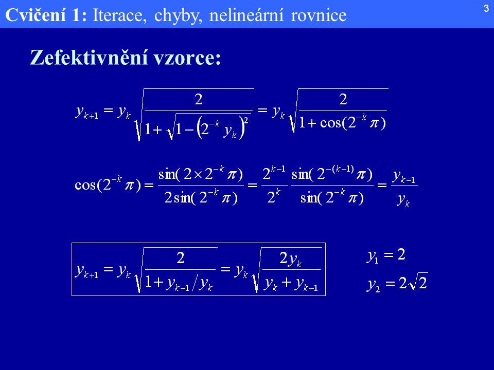 Cvičení 1: Iterace, chyby, nelineární rovnice 3 Zefektivnění vzorce: