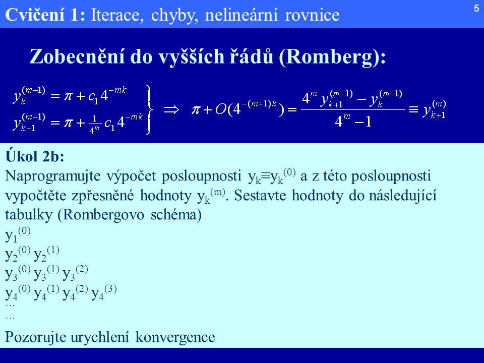 Cvičení 1: Iterace, chyby, nelineární rovnice 5 Zobecnění do vyšších řádů (Romberg): Úkol 2b: Naprogramujte výpočet posloupnosti y k ≡y k (0) a z této