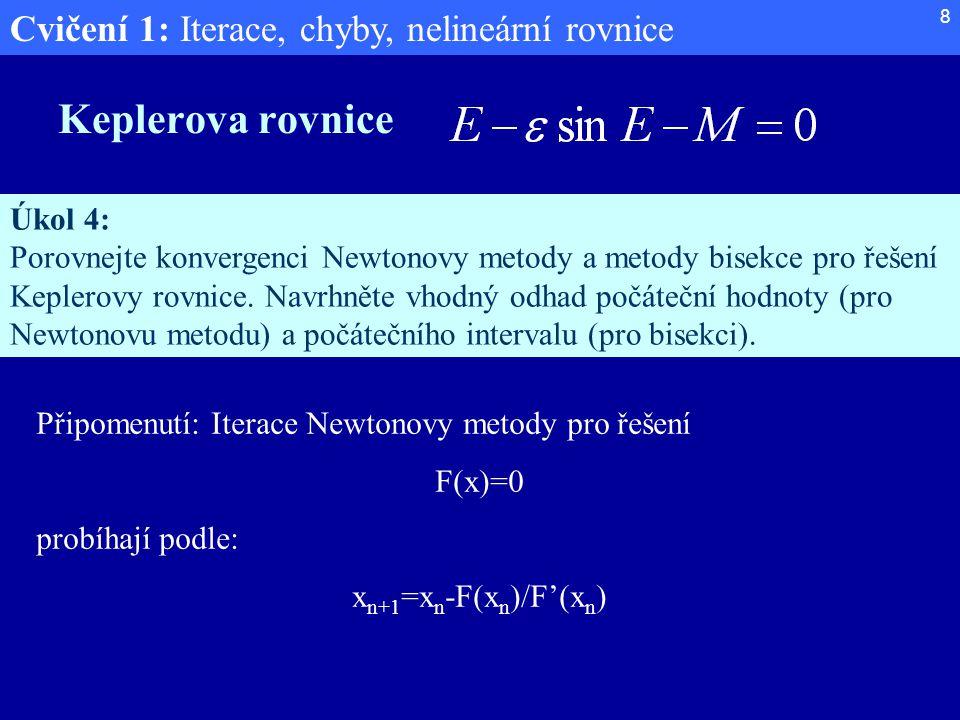 Cvičení 1: Iterace, chyby, nelineární rovnice 8 Keplerova rovnice Úkol 4: Porovnejte konvergenci Newtonovy metody a metody bisekce pro řešení Keplerov