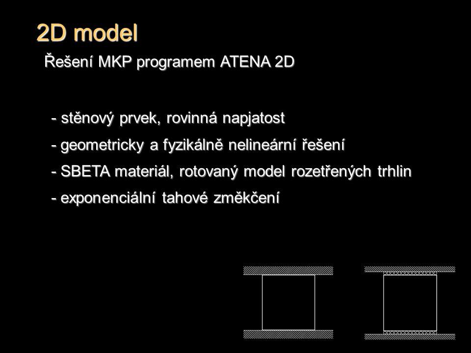 2D model Řešení MKP programem ATENA 2D - stěnový prvek, rovinná napjatost - geometricky a fyzikálně nelineární řešení - SBETA materiál, rotovaný model rozetřených trhlin - exponenciální tahové změkčení