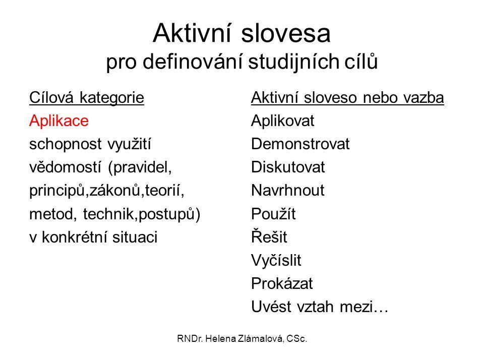 RNDr. Helena Zlámalová, CSc. Aktivní slovesa pro definování studijních cílů Cílová kategorie Aplikace schopnost využití vědomostí (pravidel, principů,