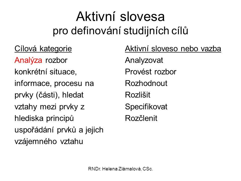 RNDr. Helena Zlámalová, CSc. Aktivní slovesa pro definování studijních cílů Cílová kategorie Analýza rozbor konkrétní situace, informace, procesu na p