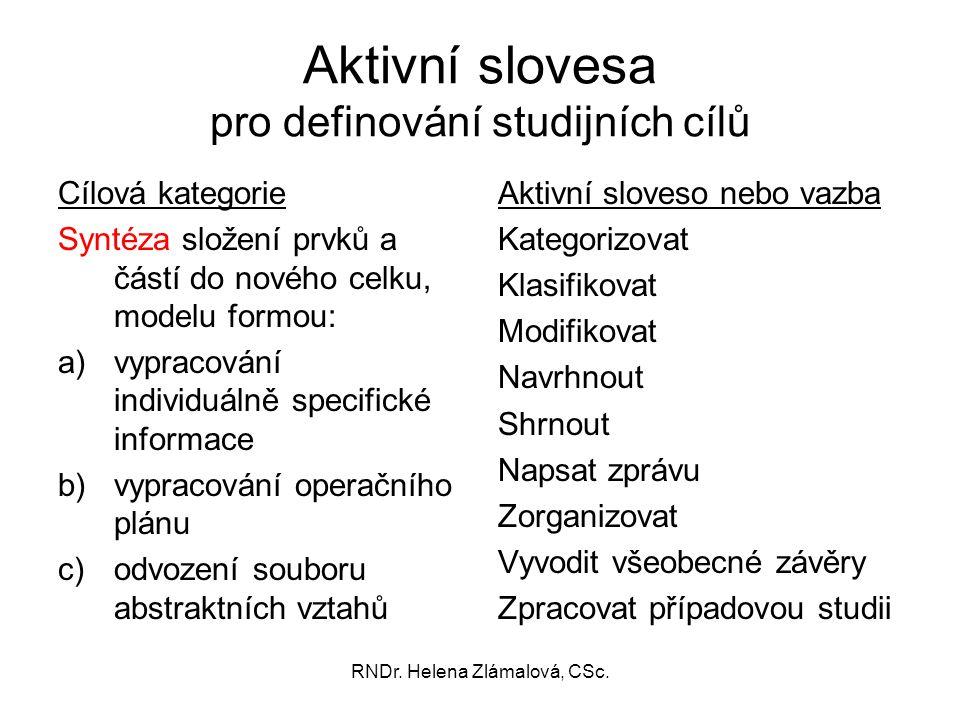 RNDr. Helena Zlámalová, CSc. Aktivní slovesa pro definování studijních cílů Cílová kategorie Syntéza složení prvků a částí do nového celku, modelu for