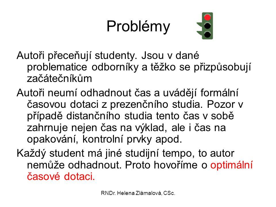 RNDr. Helena Zlámalová, CSc. Problémy Autoři přeceňují studenty. Jsou v dané problematice odborníky a těžko se přizpůsobují začátečníkům Autoři neumí