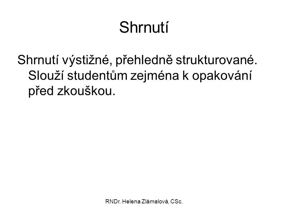 RNDr. Helena Zlámalová, CSc. Shrnutí Shrnutí výstižné, přehledně strukturované. Slouží studentům zejména k opakování před zkouškou.