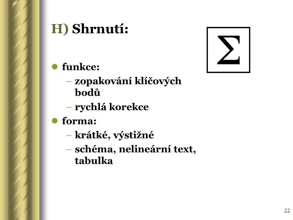 22 H) Shrnutí: funkce: –zopakování klíčových bodů –rychlá korekce forma: –krátké, výstižné –schéma, nelineární text, tabulka