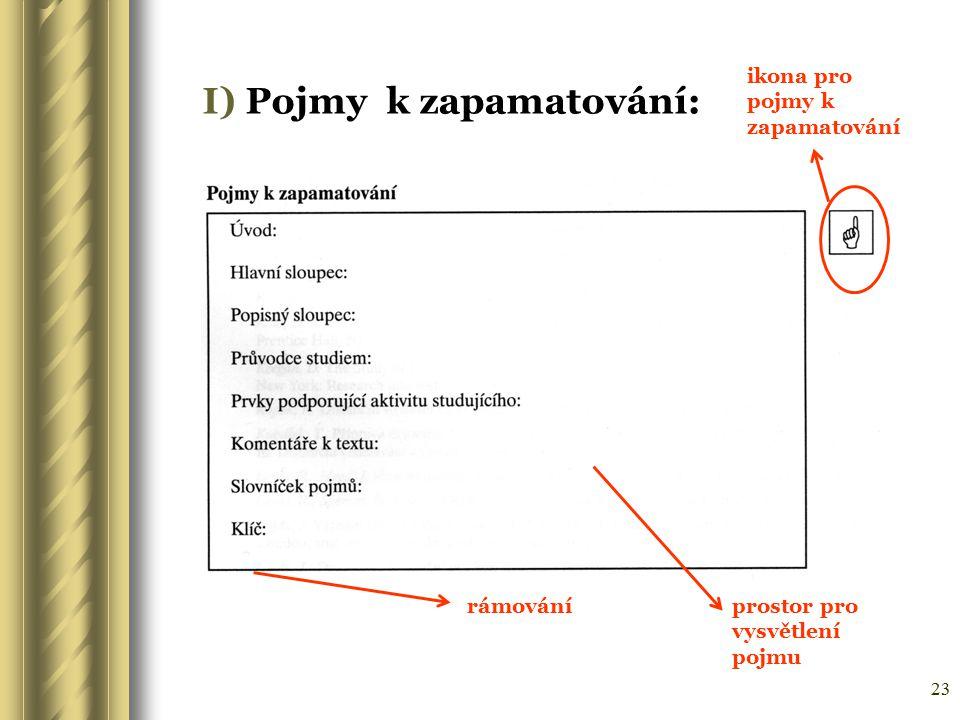 23 I) Pojmy k zapamatování: ikona pro pojmy k zapamatování rámováníprostor pro vysvětlení pojmu