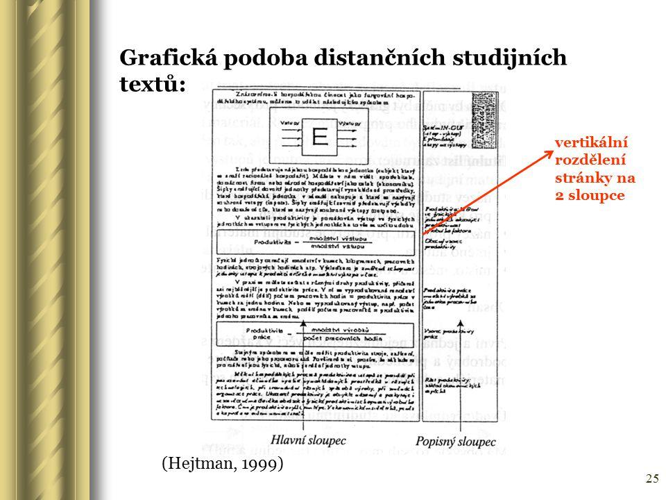 25 (Hejtman, 1999) Grafická podoba distančních studijních textů: vertikální rozdělení stránky na 2 sloupce