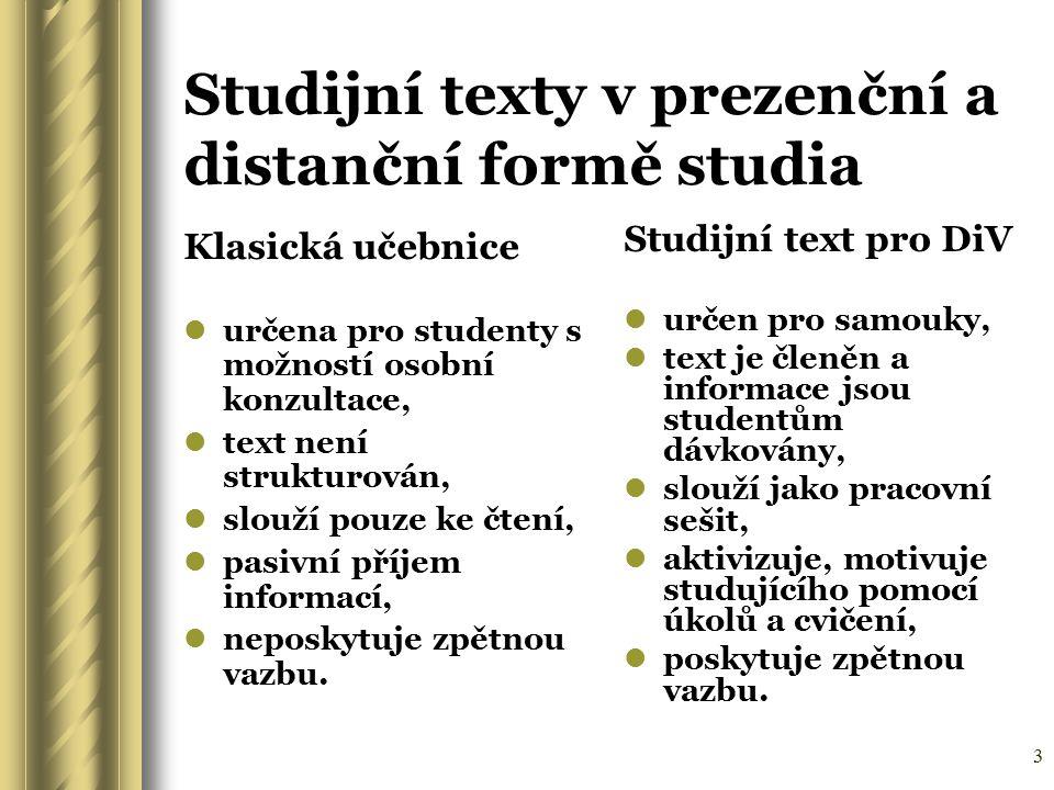 3 Studijní texty v prezenční a distanční formě studia Klasická učebnice určena pro studenty s možností osobní konzultace, text není strukturován, slou