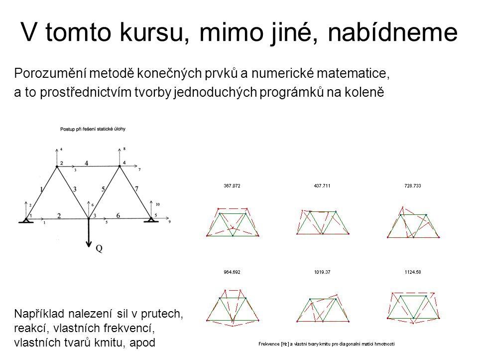 V tomto kursu, mimo jiné, nabídneme Porozumění metodě konečných prvků a numerické matematice, a to prostřednictvím tvorby jednoduchých prográmků na ko