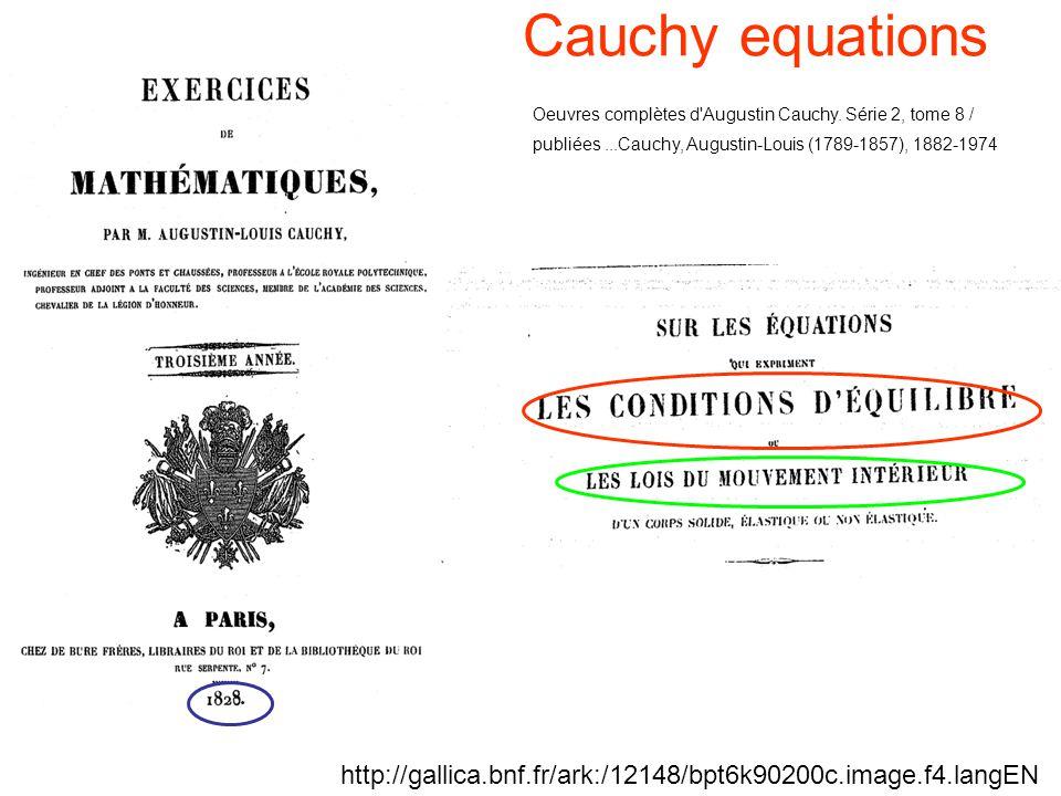 Cauchy equations Oeuvres complètes d'Augustin Cauchy. Série 2, tome 8 / publiées...Cauchy, Augustin-Louis (1789-1857), 1882-1974 http://gallica.bnf.fr