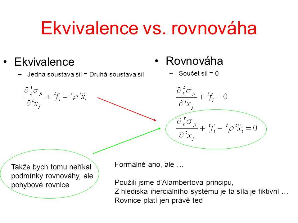 Ekvivalence vs. rovnováha Ekvivalence –Jedna soustava sil = Druhá soustava sil Rovnováha –Součet sil = 0 Formálně ano, ale … Použili jsme d'Alambertov