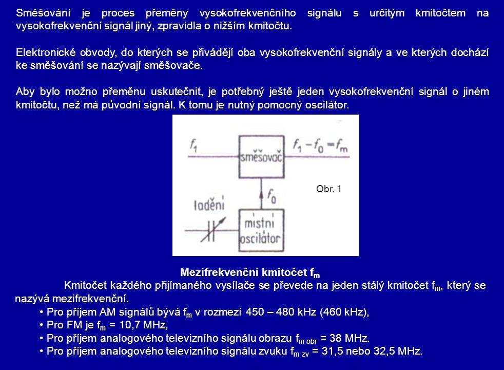 PRINCIP SMĚŠOVÁNÍ U směšování se využívá stejného jevu jako u amplitudové modulace.