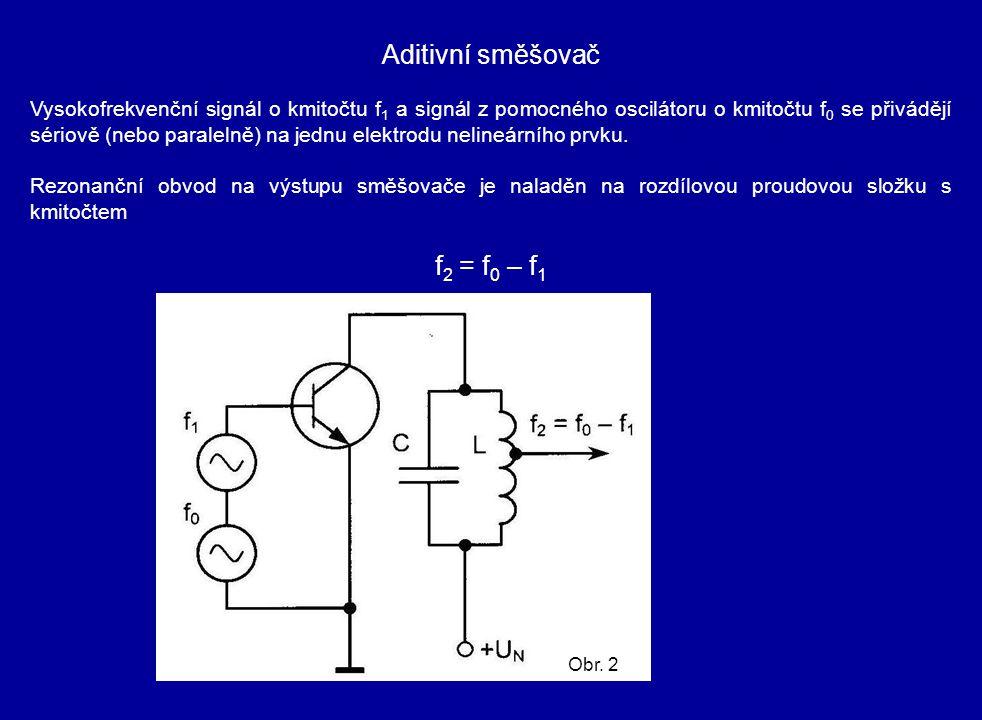Aditivní směšovač Vysokofrekvenční signál o kmitočtu f 1 a signál z pomocného oscilátoru o kmitočtu f 0 se přivádějí sériově (nebo paralelně) na jednu