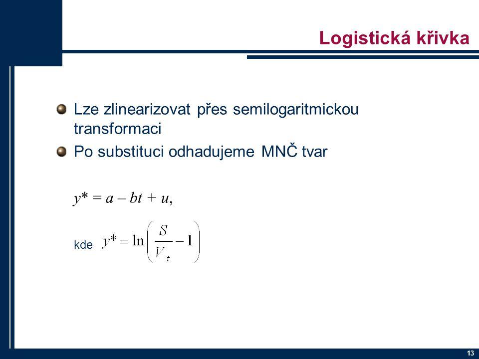 13 Logistická křivka Lze zlinearizovat přes semilogaritmickou transformaci Po substituci odhadujeme MNČ tvar y* = a – bt + u, kde