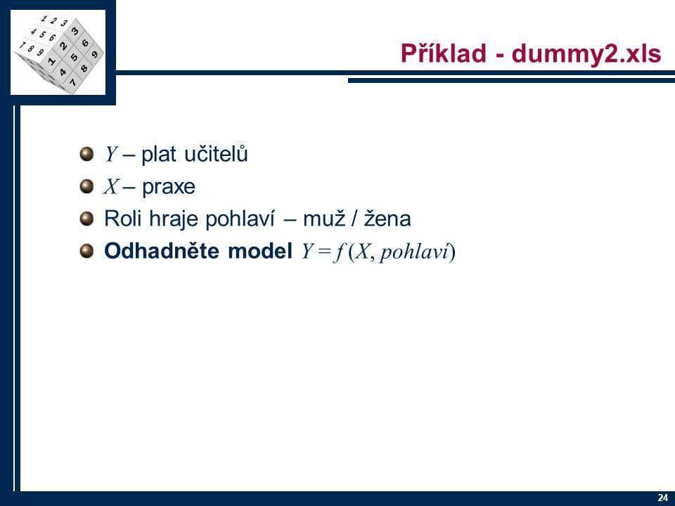 24 Příklad - dummy2.xls Y – plat učitelů X – praxe Roli hraje pohlaví – muž / žena Odhadněte model Y = f (X, pohlaví)