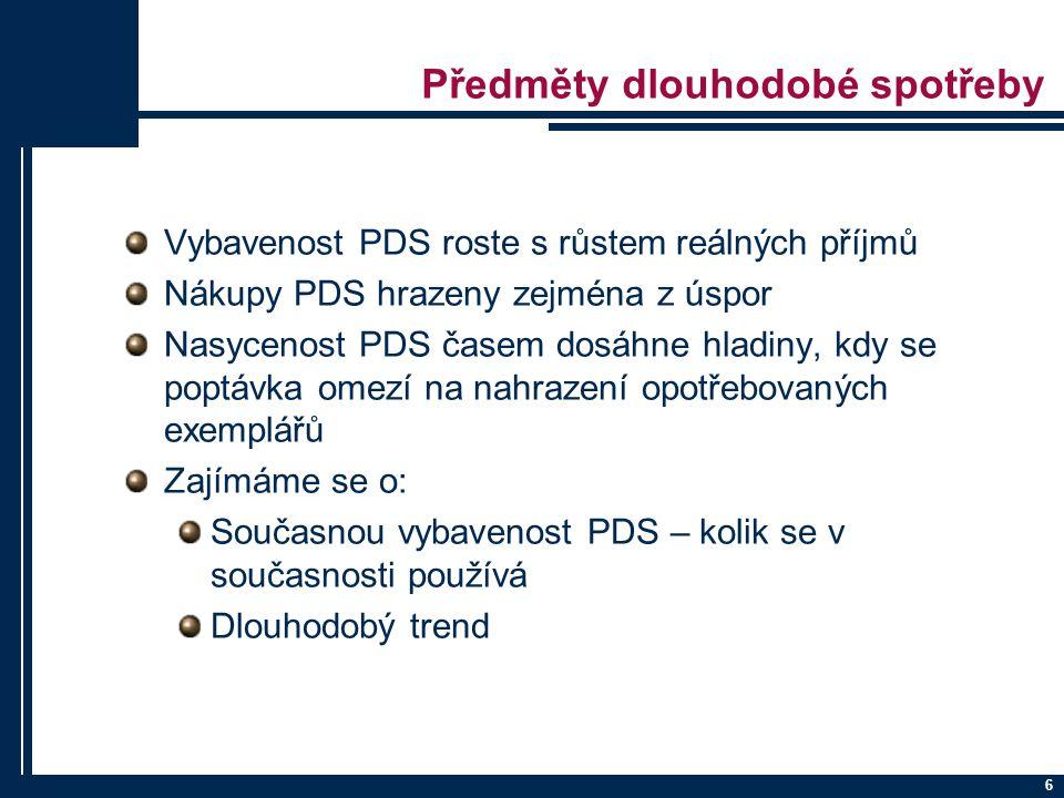 6 Předměty dlouhodobé spotřeby Vybavenost PDS roste s růstem reálných příjmů Nákupy PDS hrazeny zejména z úspor Nasycenost PDS časem dosáhne hladiny,