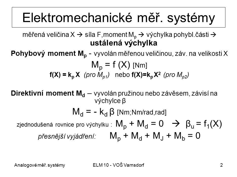 Analogové měř. systémyELM 10 - VOŠ Varnsdorf2 Elektromechanické měř. systémy měřená veličina X  síla F,moment M p  výchylka pohybl.části  ustálená