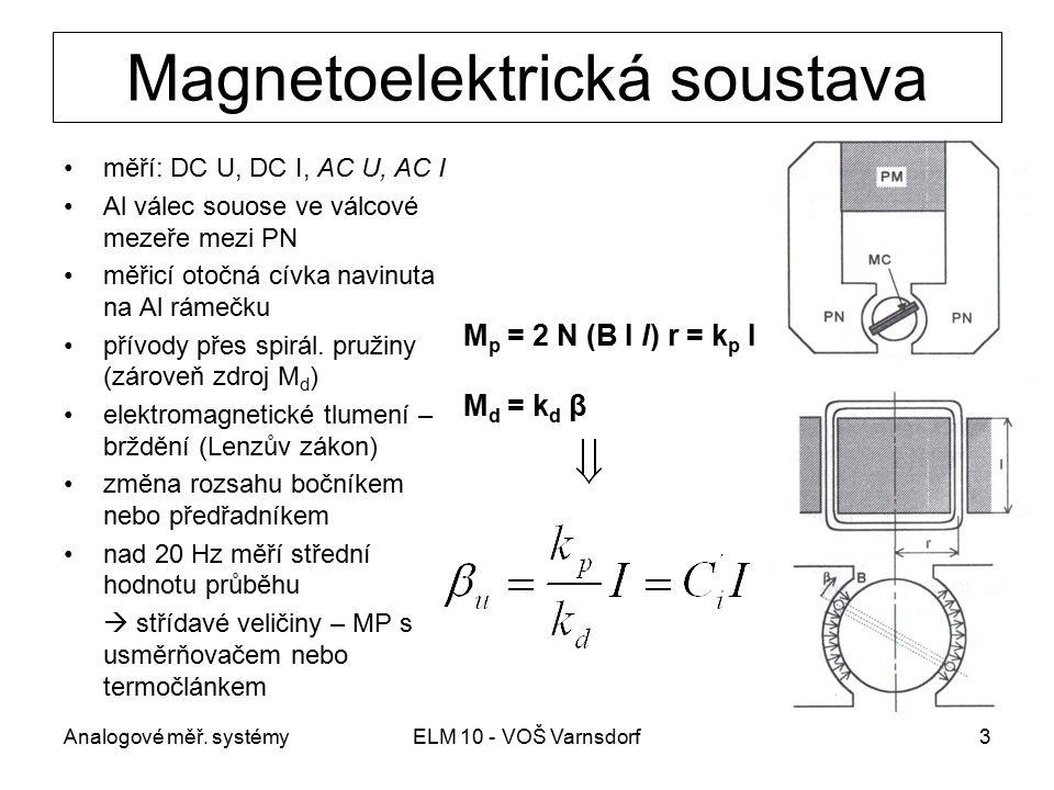 Analogové měř. systémyELM 10 - VOŠ Varnsdorf3 Magnetoelektrická soustava měří: DC U, DC I, AC U, AC I Al válec souose ve válcové mezeře mezi PN měřicí