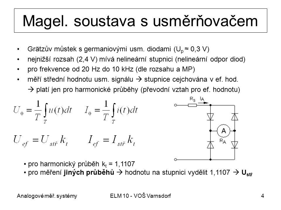 Analogové měř. systémyELM 10 - VOŠ Varnsdorf4 Magel. soustava s usměrňovačem Grätzův můstek s germaniovými usm. diodami (U p ≈ 0,3 V) nejnižší rozsah