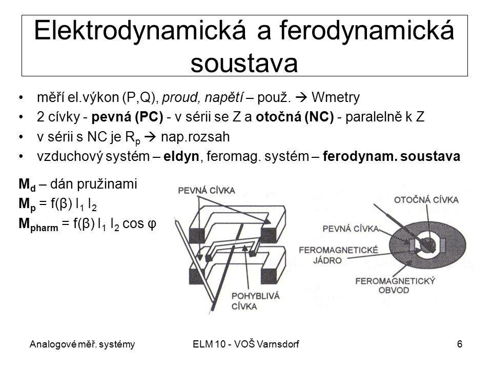 Analogové měř. systémyELM 10 - VOŠ Varnsdorf6 Elektrodynamická a ferodynamická soustava měří el.výkon (P,Q), proud, napětí – použ.  Wmetry 2 cívky -