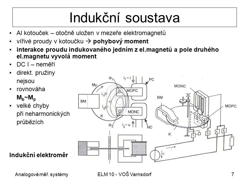 Analogové měř. systémyELM 10 - VOŠ Varnsdorf7 Indukční soustava Al kotouček – otočně uložen v mezeře elektromagnetů vířivé proudy v kotoučku  pohybov