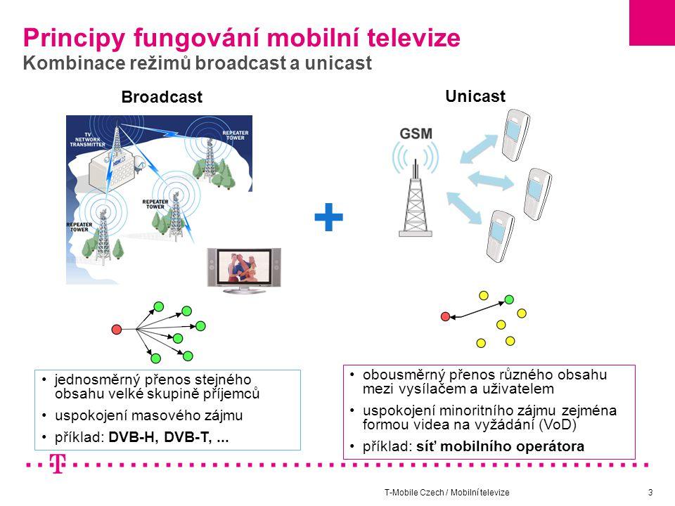 T-Mobile Czech / Mobilní televize3 Principy fungování mobilní televize Kombinace režimů broadcast a unicast jednosměrný přenos stejného obsahu velké skupině příjemců uspokojení masového zájmu příklad: DVB-H, DVB-T,...