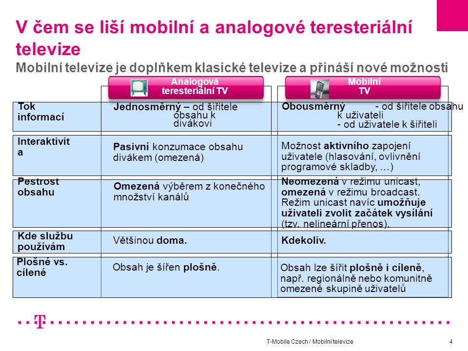 T-Mobile Czech / Mobilní televize5 Jak využít mobilní televizi pro službu veřejnému zájmu Uspokojení zájmů menších komunit Tok informací Mobilní TV Obousměrný - od šiřitele obsahu k uživateli - od uživatele k šiřiteli Pestrost obsahu Neomezená v režimu unicast, omezená v režimu broadcast.